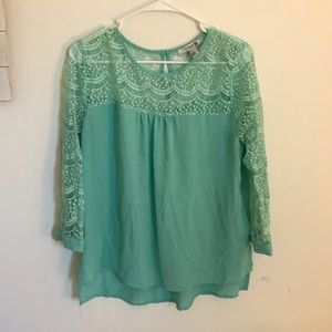 Gorgeous Lace Teal Blouse